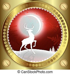 Christmas red background with reindeer and bright moon