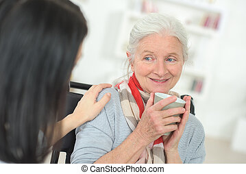 Doctor checking up on a senior patient