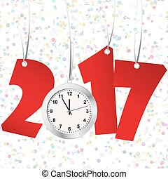 new year 2017 numbers and clock - red numbers showing New...