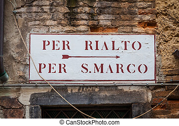 Venice street sign - This is the tipical Venice street sign...