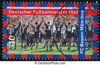 postmark - GERMANY- CIRCA 1997: stamp printed by Germany,...