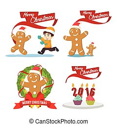 ginger cristmas cartoon set