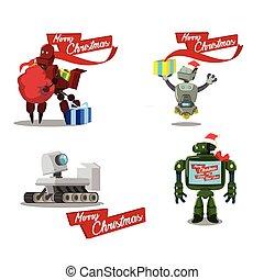 cristmas robot cartoon set