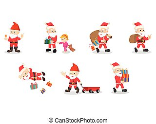santa 6 cartoon set