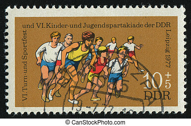 postmark - GERMANY- CIRCA 1977: stamp printed by Germany,...