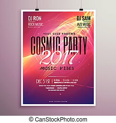 2017 happy new year party event flyer template with abstract shapes