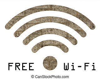 Free WIFI sign with old stonework wall visible through...