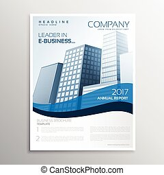 creative business leaflet design with blue wave and space for your text