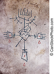 Religious Cross and symbols - Hand drawn illustration or...