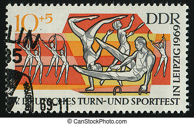 postmark - GERMANY- CIRCA 1969: stamp printed by Germany,...