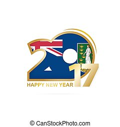 Year 2017 with British Virgin Islands Flag pattern. Happy...