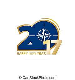 Year 2017 with Nato Flag pattern. Happy New Year Design on...