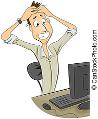 Frustrated Man in Front of Monitor with Clipping Path
