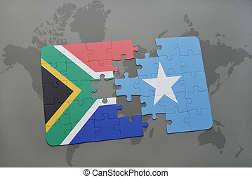 puzzle with the national flag of south africa and somalia on...