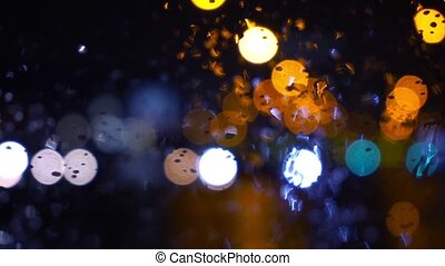 Wet the window with the background of the night city traffic...
