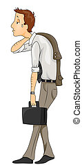 Tired Businessman Going Home with Clipping Path