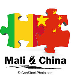 China and Mali flags in puzzle