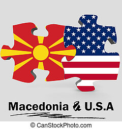 USA and Macedonia flags in puzzle