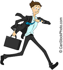 Late Businessman - Businessman Running Late with Clipping...