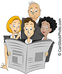 Reading Newspaper - Businesspeople reading Newspaper with...