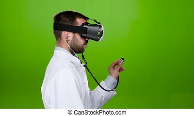 Medicine. Research through virtual glasses. Green screen -...