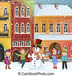 Christmas illustration with snowman and happy children in...