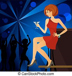 Girl at the night club - Vector illustration of a girl at...