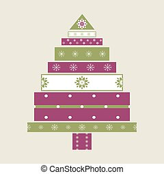 Christmas tree gifts card background.