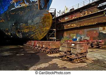 Ship in the dry dock during repairs.