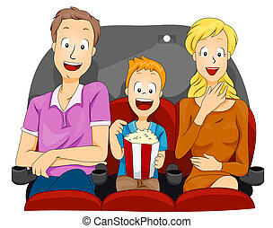 Family Movie - Family Watching Movie with Clipping Path