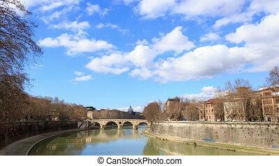 Ponte Sisto. Rome, Italy. Time Lapse. UltraHD (4K)