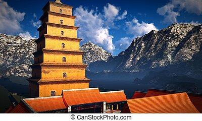 Sun temple - Buddhist shrine in the Himalayas 3d rendering -...