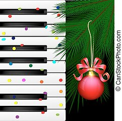 festive keys and red ball - dark background, abstract large...