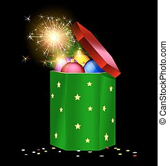 green red Christmas box and fire - black background, the...
