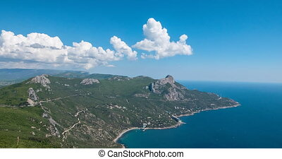 South Crimea, Laspi Bay. View from Mount Kush-Kaya. Time Lapse