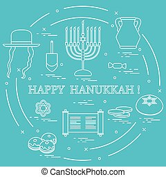 Vector illustration: Jewish holiday Hanukkah: dreidel,...