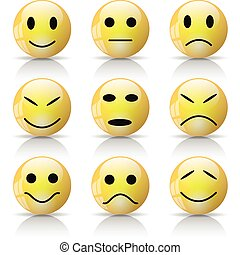 Smiley - Illustration of Smileys Icons on a white background...