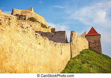 Rupea Castle near Brasov, medieval fortress in Romania