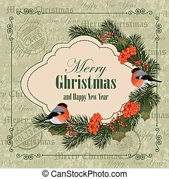 Christmas and New Year greeting card. Bullfinches, pine...
