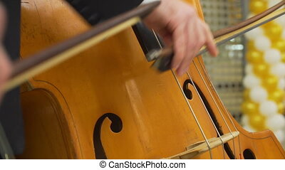 Closeup of musician playing at cello. - Close-up of musician...