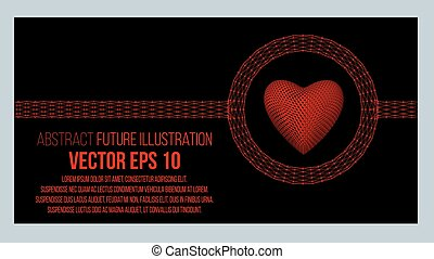 Creative concept Background of the red heart. Abstract Creative concept vector background of geometric shapes. Vector Illustration eps 10 for your design.