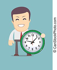 funny cartoon office worker with clock