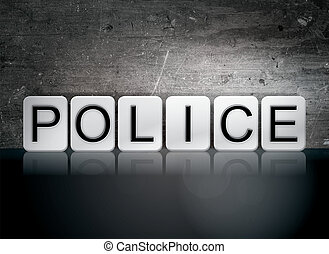 "Police Tiled Letters Concept and Theme - The word ""Police""..."