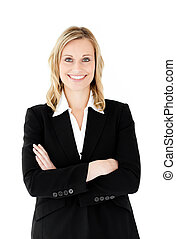 Smiling businesswoman with folded arms looking at the camera...