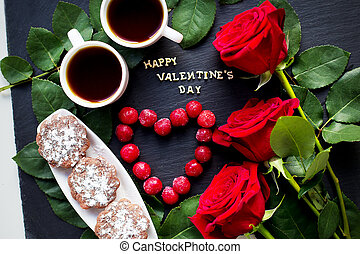 Happy Valentine inscription, cherry, muffins, coffee and red...
