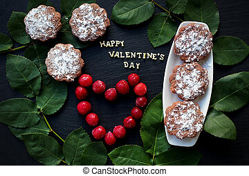 inscription Closeup of Valentine's day, cherry, muffins,...