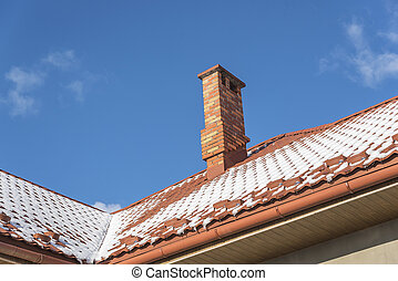 Snow on the roof at winter. - Snow on the roof at winter on...
