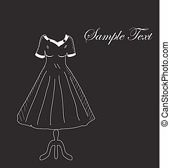 Retro dress on a hanger on a black background, hand drawing. Fashion, style invitation card. Vector illustration.