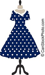 Retro dress on a hanger, dotted design, polka dots, hand drawing. Fashion, style invitation card. Vector illustration.