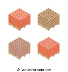 Isometric wooden pallet with bricks, vector illustration.